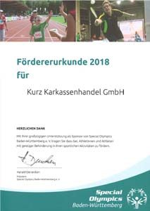 KURZ Karkassenhandel - Fördererurkunde 2018